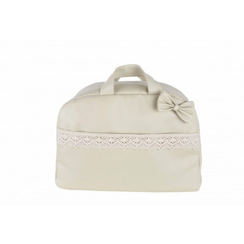 Camel Bow and Lace Baby Changing Bag - Arabella's Baby Boutique