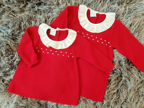Granlei Red Knitted Dress with Frill Collar - Arabella's Baby Boutique