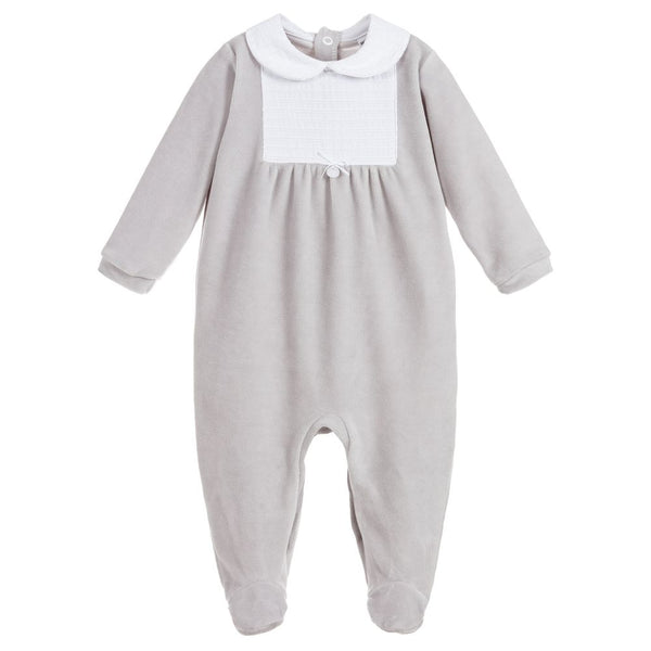 Babidu Grey Velour Babygrow - Arabella's Baby Boutique