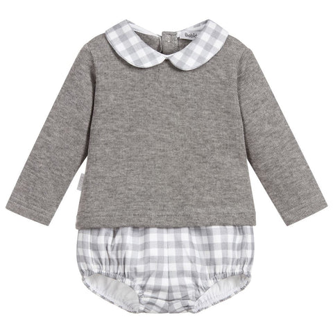 Babidu Grey Gingham Set - Arabella's Baby Boutique