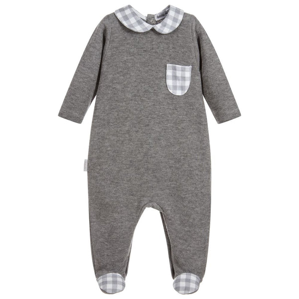 Babidu Grey Cotton Babygrow with Gingham - Arabella's Baby Boutique