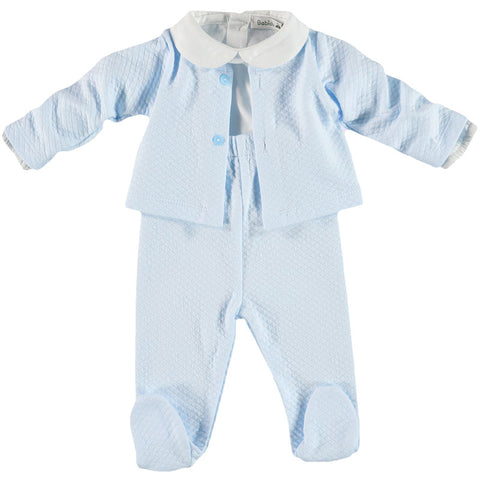 Babidu Three Piece Baby Blue Set - Arabella's Baby Boutique