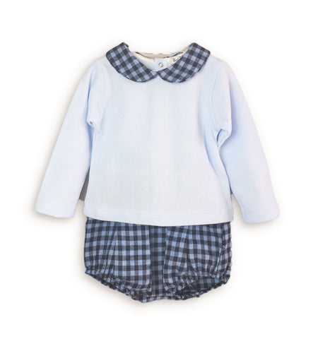 Babidu Baby Blue & Gingham Short Set - Arabella's Baby Boutique