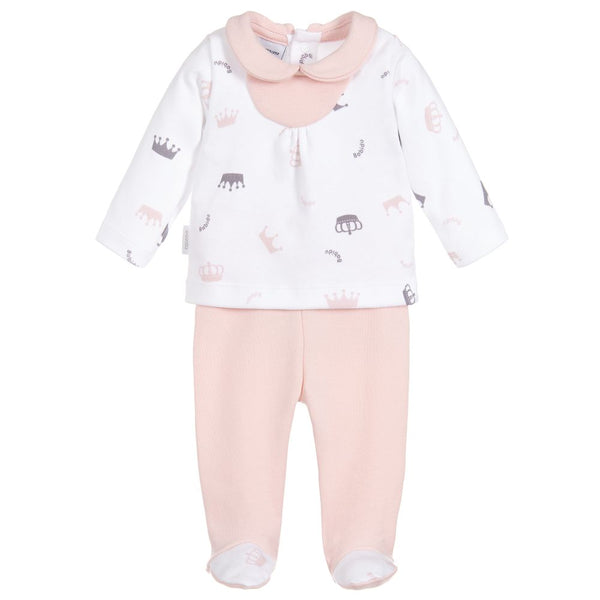 Babidu White & Pink Crown 2 Piece Outfit - Arabella's Baby Boutique