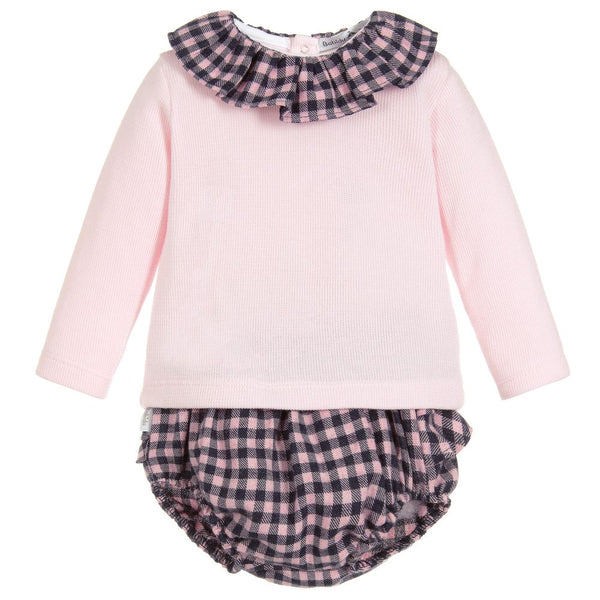 Babidu Pink & Gingham 2 Piece Outfit - Arabella's Baby Boutique