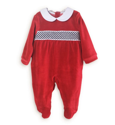 Babidu Red Velour Babygrow - Arabella's Baby Boutique