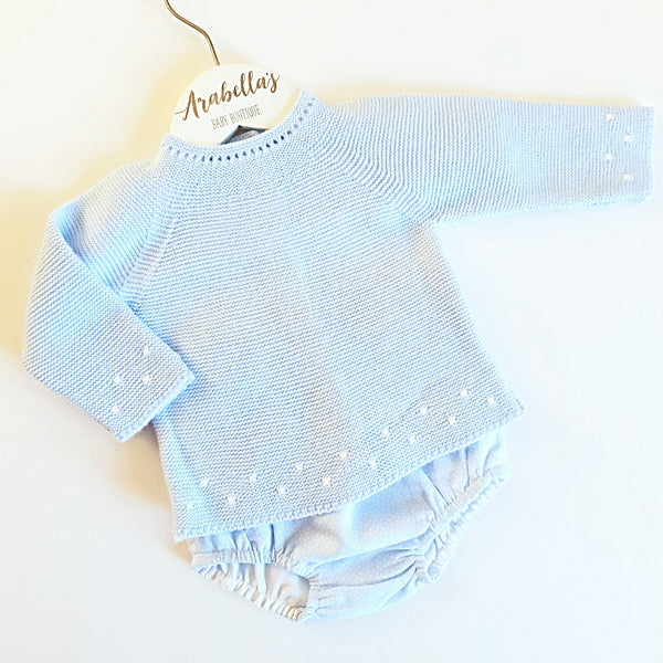 Baby Blue and White Boys 2 Piece - Arabella's Baby Boutique