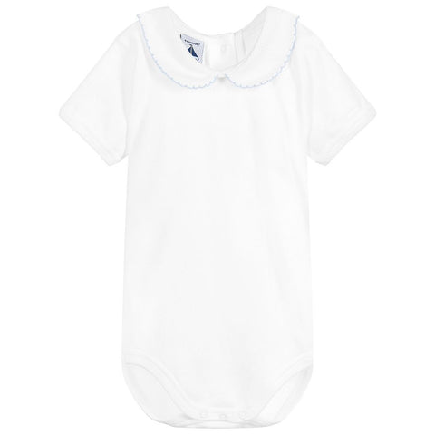 Babidu White and Baby Blue Body with Peter Pan Collar - Arabella's Baby Boutique