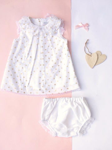'Milly' White & Gold 2 Piece - Arabella's Baby Boutique