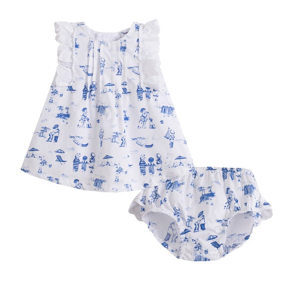 'Beau' Jam pant set, Blue & White - Arabella's Baby Boutique