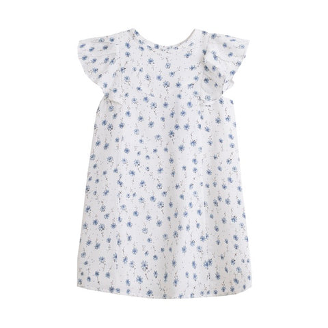 'Summer' White and Blue Girl's Floral Dress - Arabella's Baby Boutique