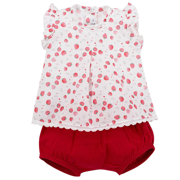 CALAMARO -  Red & White Strawberry Two Piece Set - Arabella's Baby Boutique