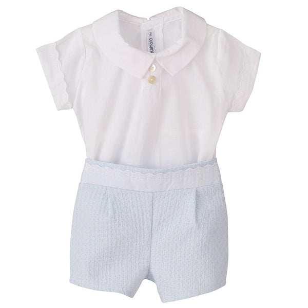 Calamaro - White & Baby Blue Short Set - Arabella's Baby Boutique