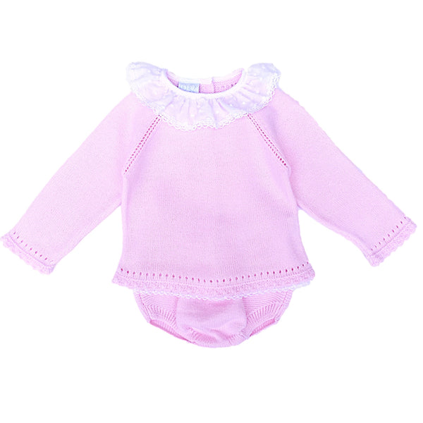Granlei Baby Girls Pink Knitted Two Piece Set - Arabella's Baby Boutique