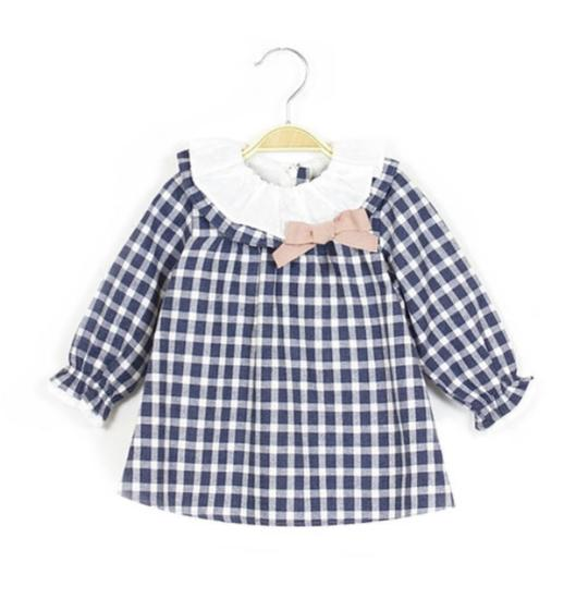 Dadati Pink & Navy Check Baby Dress - Arabella's Baby Boutique