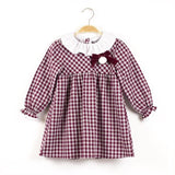 Dadati Burgandy & White Check Dress - Arabella's Baby Boutique