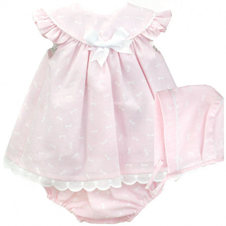 BABYFERR- 'Olivia' Three Piece Dress Set with Bonnet - Arabella's Baby Boutique