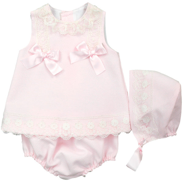 Dulce De Fresa - Pink Dress & Bonnet Set - Arabella's Baby Boutique