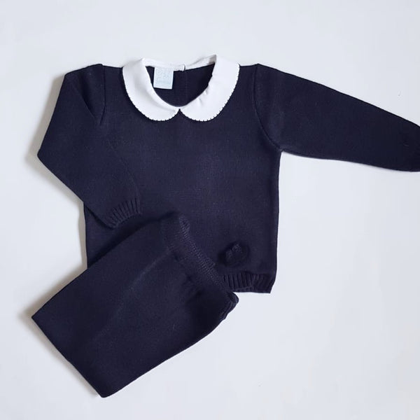 Granlei Knitted Tracksuit Navy - Arabella's Baby Boutique