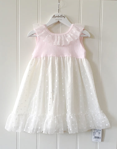 'Belle' Granlei Pink & Ivory Tulle Dress - Arabella's Baby Boutique