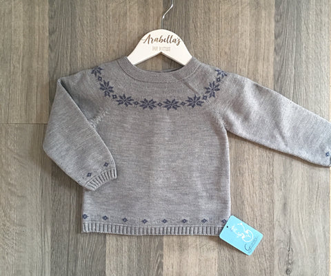 Grey & Blue Snowflake Jumper - Arabella's Baby Boutique