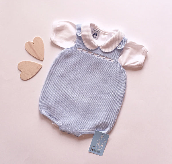 Baby Blue Knitted Boys Romper - Arabella's Baby Boutique