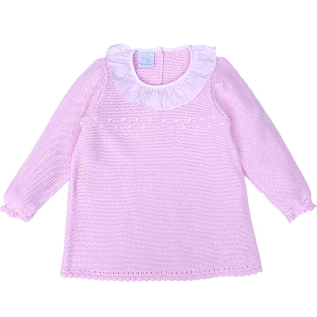 e8156947f Granlei Pink Knit Dress With Frilly Collar, Spanish Baby Knitted Dresses – Arabella's  Baby Boutique