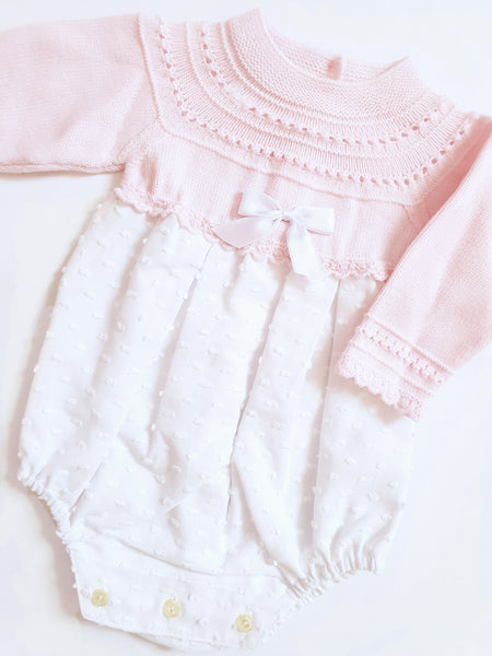 Granlei Pink Knitted Romper - Arabella's Baby Boutique