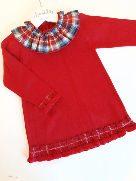 Granlei Red Knitted Dress with Tartan Collar - Arabella's Baby Boutique