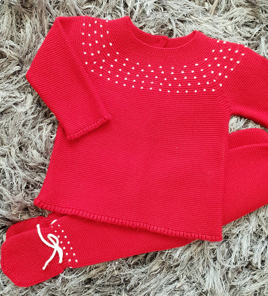 Granlei Red Knitted Baby Set - Arabella's Baby Boutique
