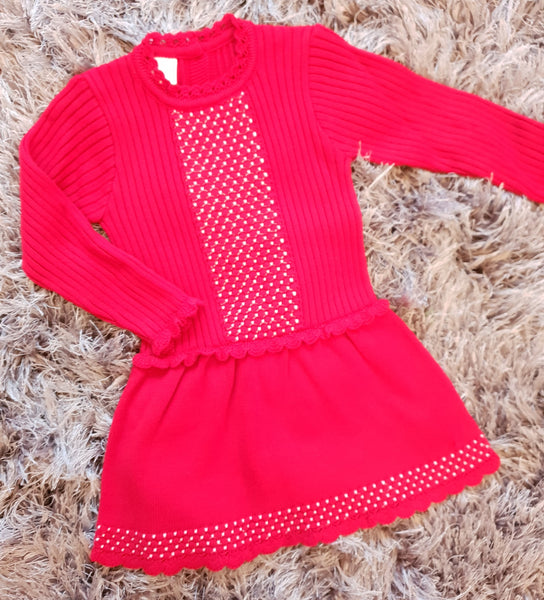 Granlei Red Knitted Dress - Arabella's Baby Boutique