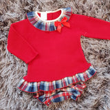 Granlei Red Knitted Tartan Romper Set - Arabella's Baby Boutique