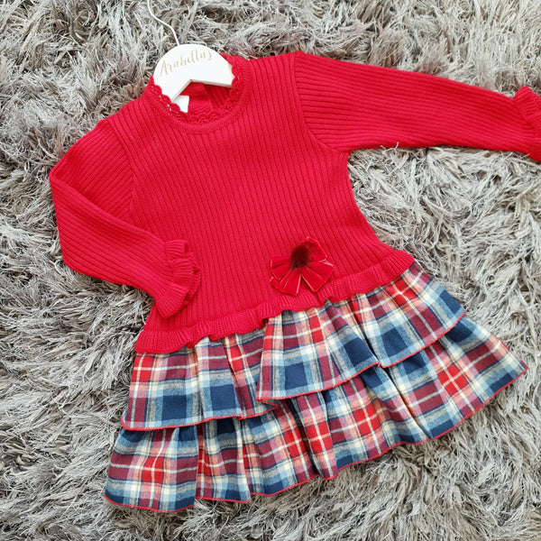 Granlei Red Knitted Dress with Tartan Ruffles - Arabella's Baby Boutique
