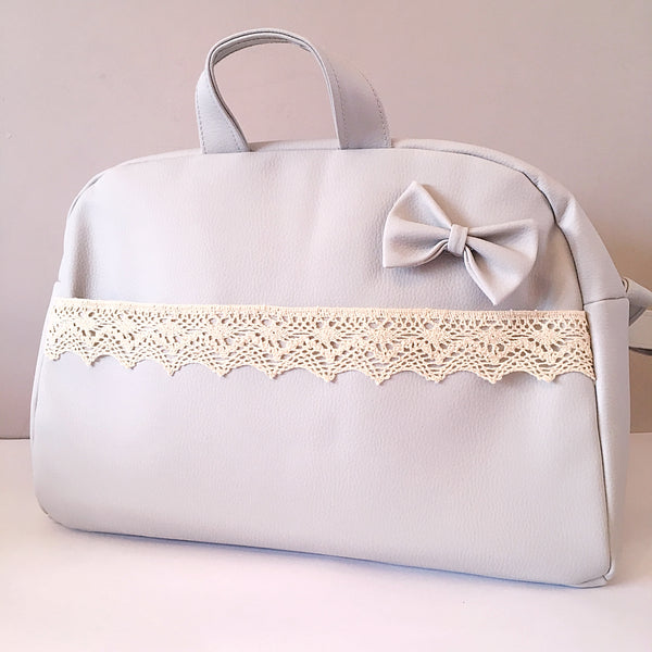 Grey Bow and Lace Baby Changing Bag - Arabella's Baby Boutique