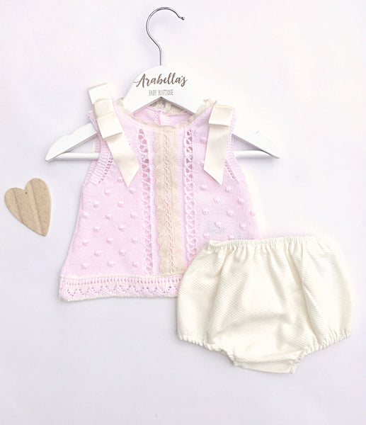'Rosa' Baby Pink and Ivory Summer Knit Set - Arabella's Baby Boutique