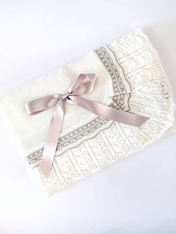 Cream and Camel Baby Blanket - Arabella's Baby Boutique