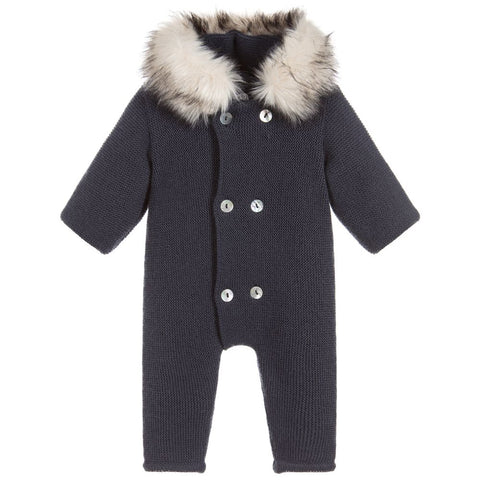 Mebi Knitted Pramsuit Navy Footless - Arabella's Baby Boutique