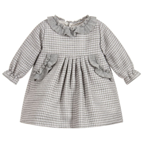 Mebi Girl's Grey Check Dress - Arabella's Baby Boutique