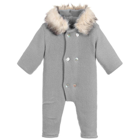 Mebi Knitted Pramsuit Footless Grey - Arabella's Baby Boutique
