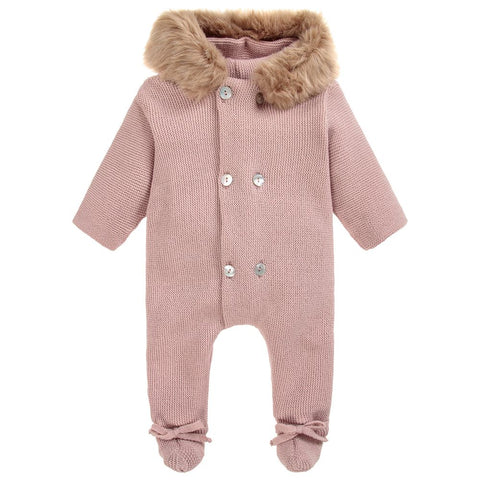 Mebi Knitted Pramsuit in Pink - Arabella's Baby Boutique