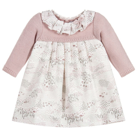 Mebi Pink Floral & Knit Dress - Arabella's Baby Boutique