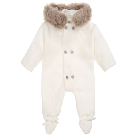 Mebi Knitted Pramsuit in White - Arabella's Baby Boutique