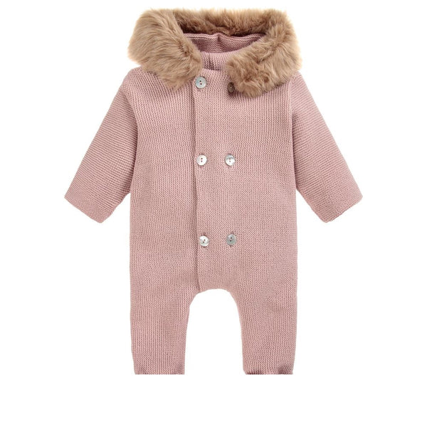 Mebi Knitted Footless All in One Suit Pink - Arabella's Baby Boutique
