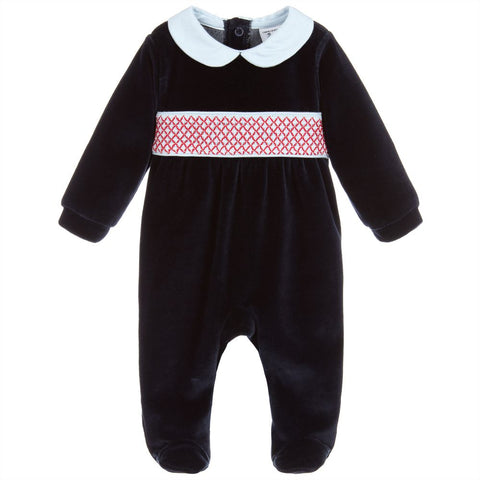 Babidu Navy & Red Velour Babygrow - Arabella's Baby Boutique