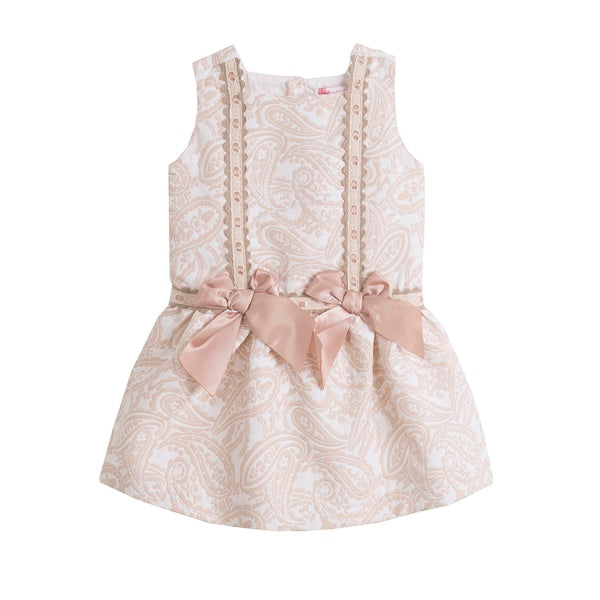 'Aurora' Gold and Ivory Girls Dress - Arabella's Baby Boutique