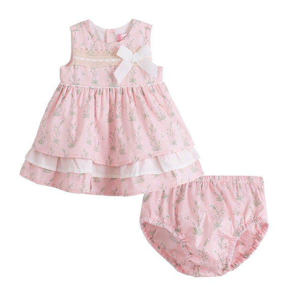 'Alex' Baby Girl's Dress Set in Pink Floral - Arabella's Baby Boutique