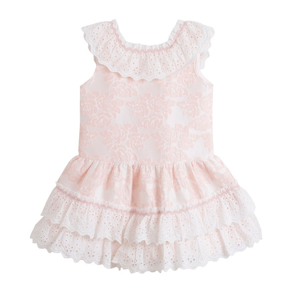 'Carlotta' Dress, Baby Pink and Ivory Dress - Arabella's Baby Boutique