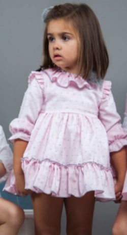 Noa Pink & Grey PomPom Dress - Arabella's Baby Boutique