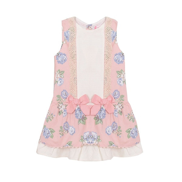 'Marta', Baby pink & Blue Drop Waisted Dress - Arabella's Baby Boutique