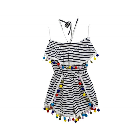 Stripey girls playsuit with pompoms - Arabella's Baby Boutique